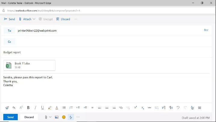 attach file in email