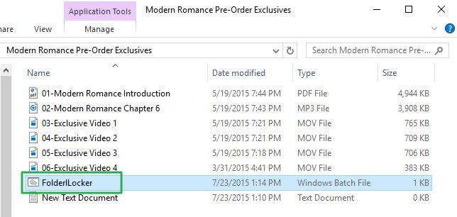 Screenshot saat mengunci file