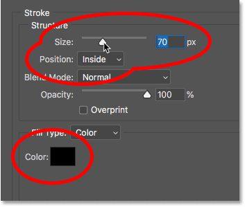 Opsi efek lapisan Stroke di Photoshop