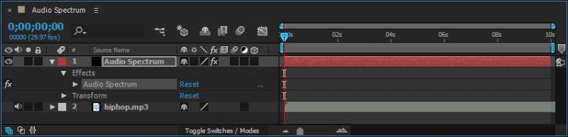 timeline solid dengan efek spektrum audio